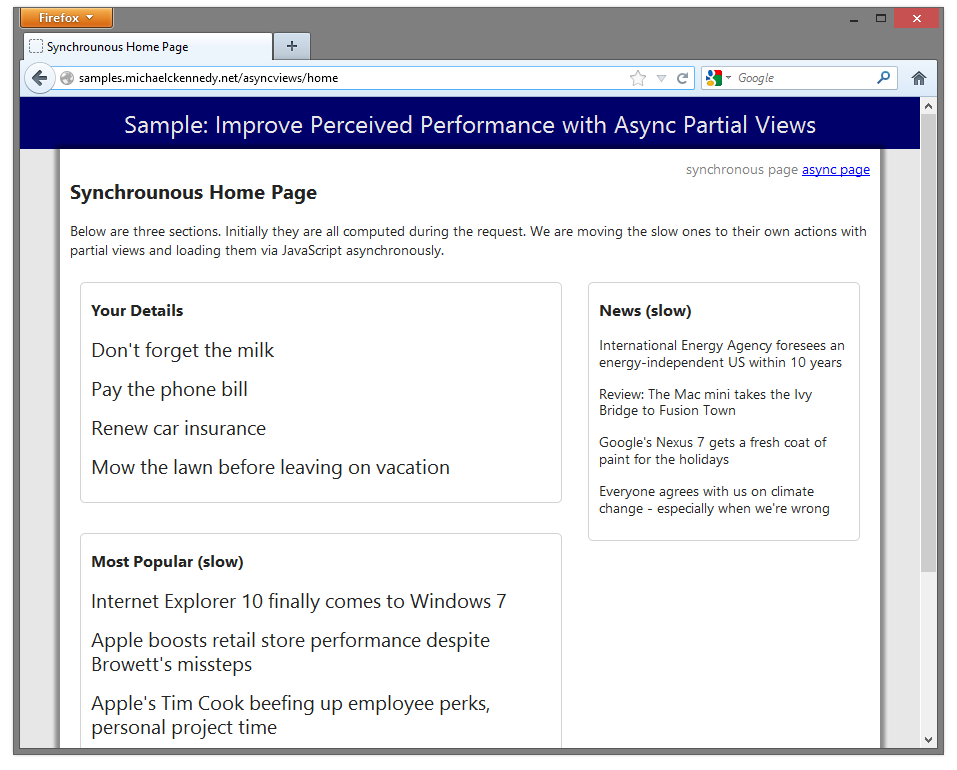 Improve perceived performance of ASP NET MVC websites with