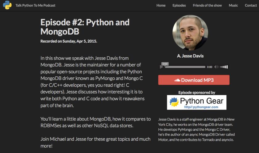 Episode #2: Python and MongoDB with Jesse Davis