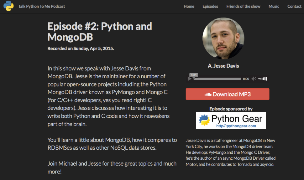 Episode #2: Python and MongoDB with Jesse Davis